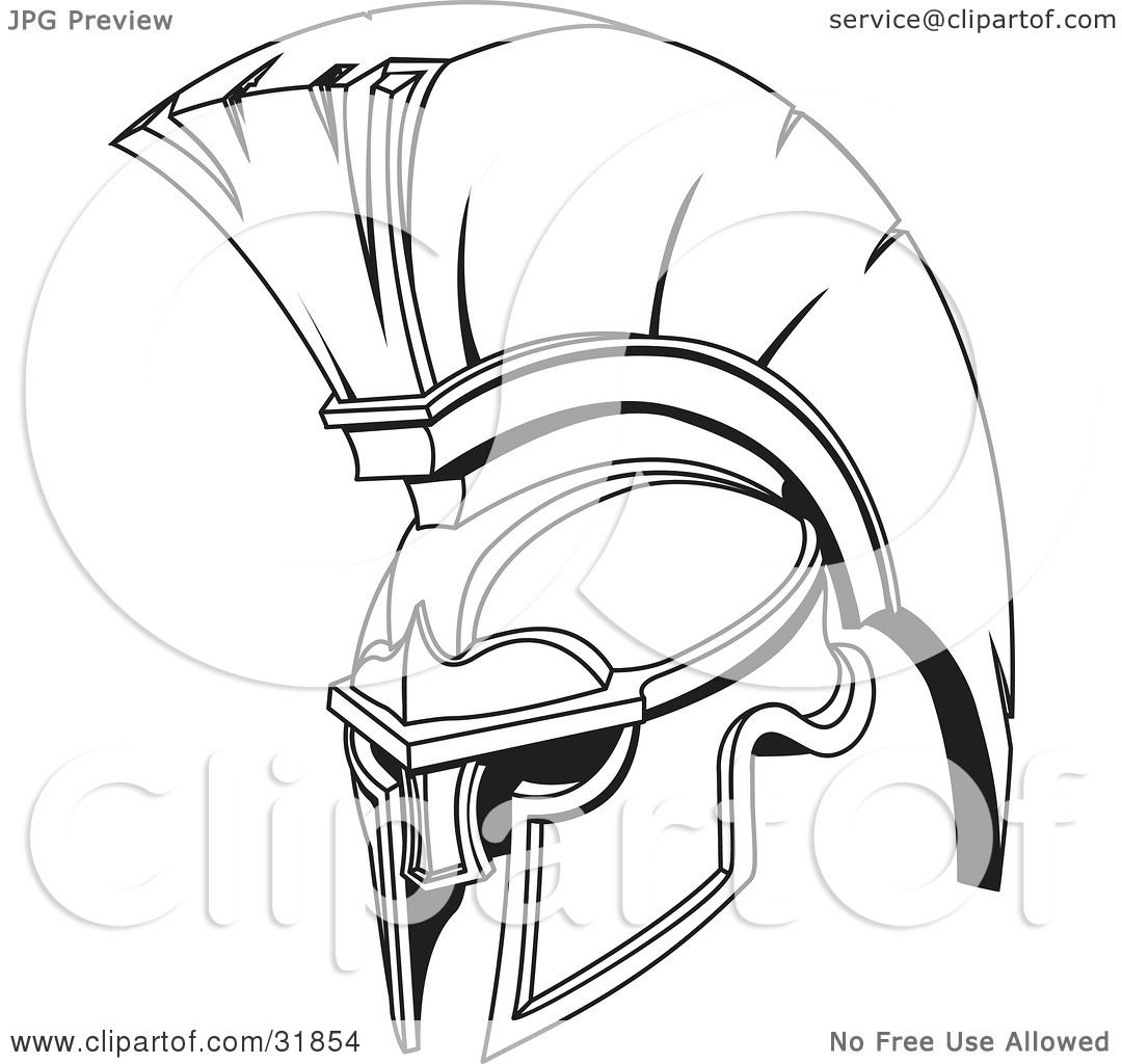 Clipart Illustration Of A Black And White Spartan Or