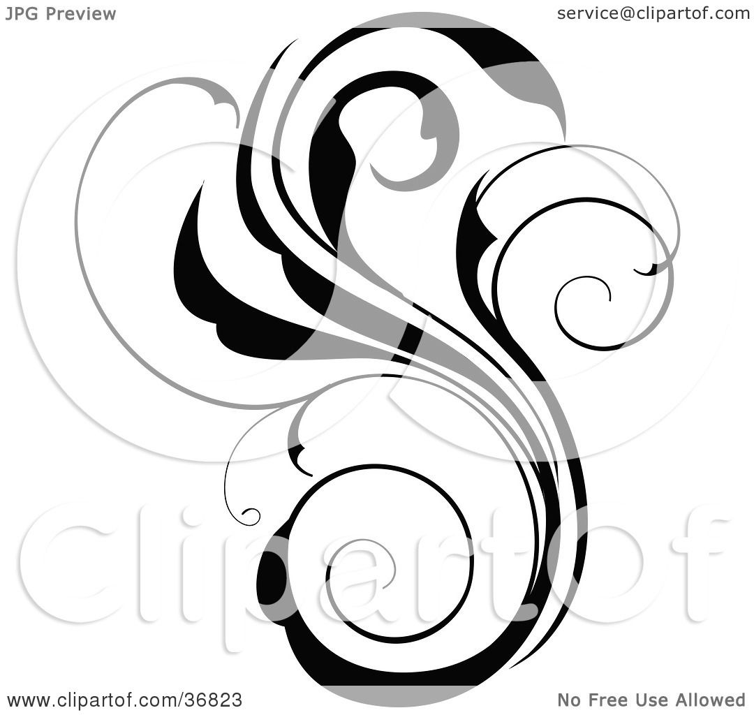 Clipart Illustration Of A Black Silhouette Scroll Design
