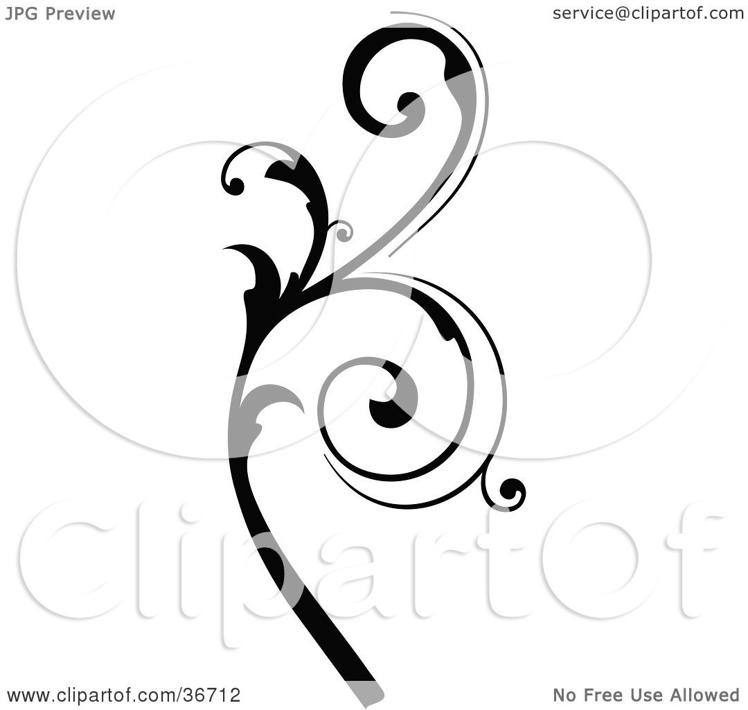 Clipart Illustration Of A Black Silhouetted Elegant Leafy Branch Design By Onfocusmedia