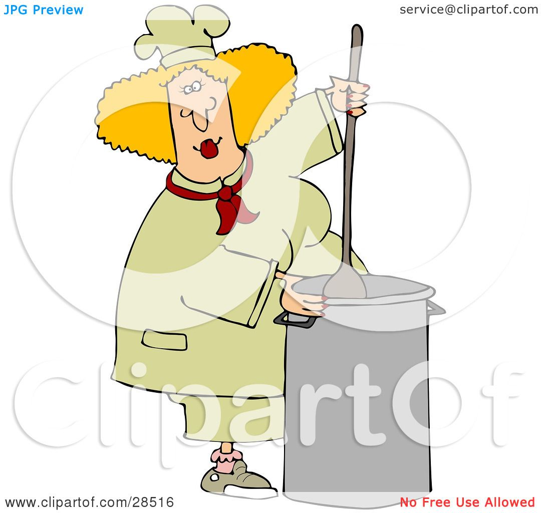 hight resolution of clipart illustration of a blond white culinary chef woman mixing a pot of food in a