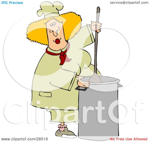 small resolution of clipart illustration of a blond white culinary chef woman mixing a pot of food in a