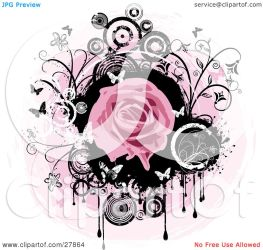 pink circle dripping background paint flowers rose circles butterflies clipart blooming illustration kj pargeter clip