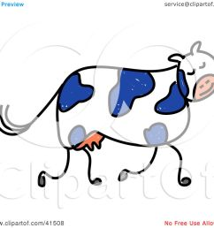 clipart illustration of a blue and white dairy cow walking by prawny [ 1080 x 1024 Pixel ]