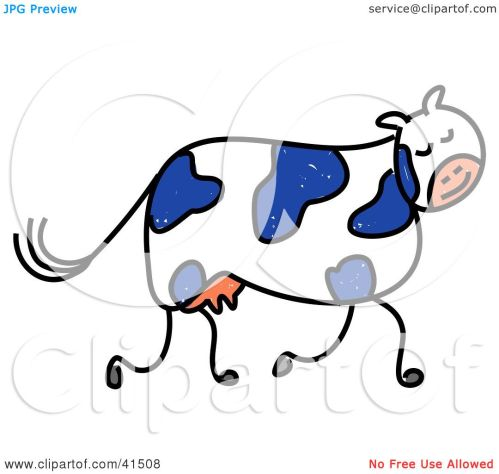 small resolution of clipart illustration of a blue and white dairy cow walking by prawny