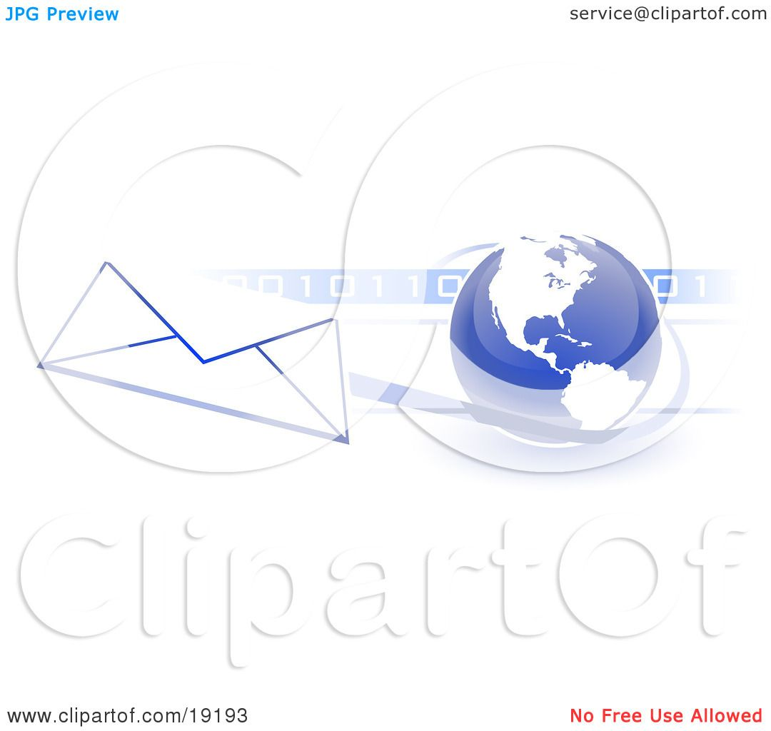 hight resolution of clipart illustration of a blue blue globe with white american continents against a numeric binary code bar and a speeding envelope passing by with a blue