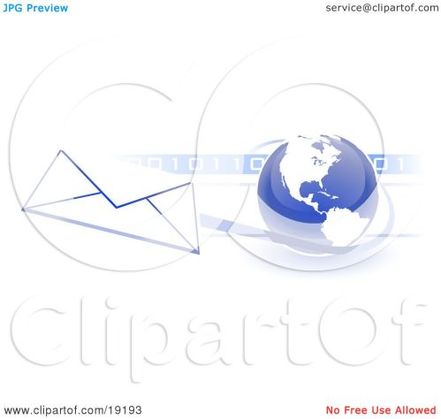 small resolution of clipart illustration of a blue blue globe with white american continents against a numeric binary code bar and a speeding envelope passing by with a blue
