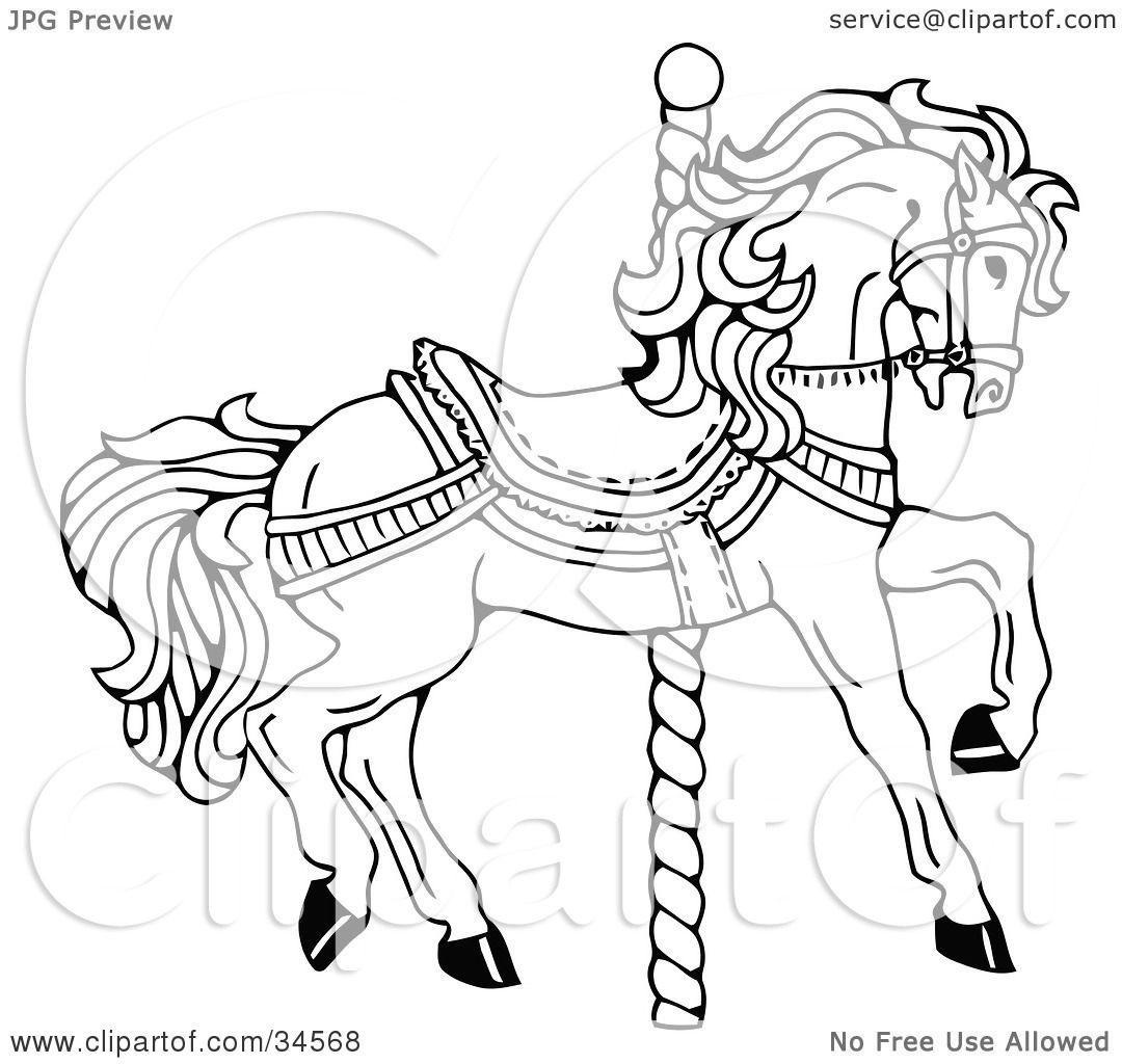 Clipart Illustration Of A Carousel Horse Facing Right On A