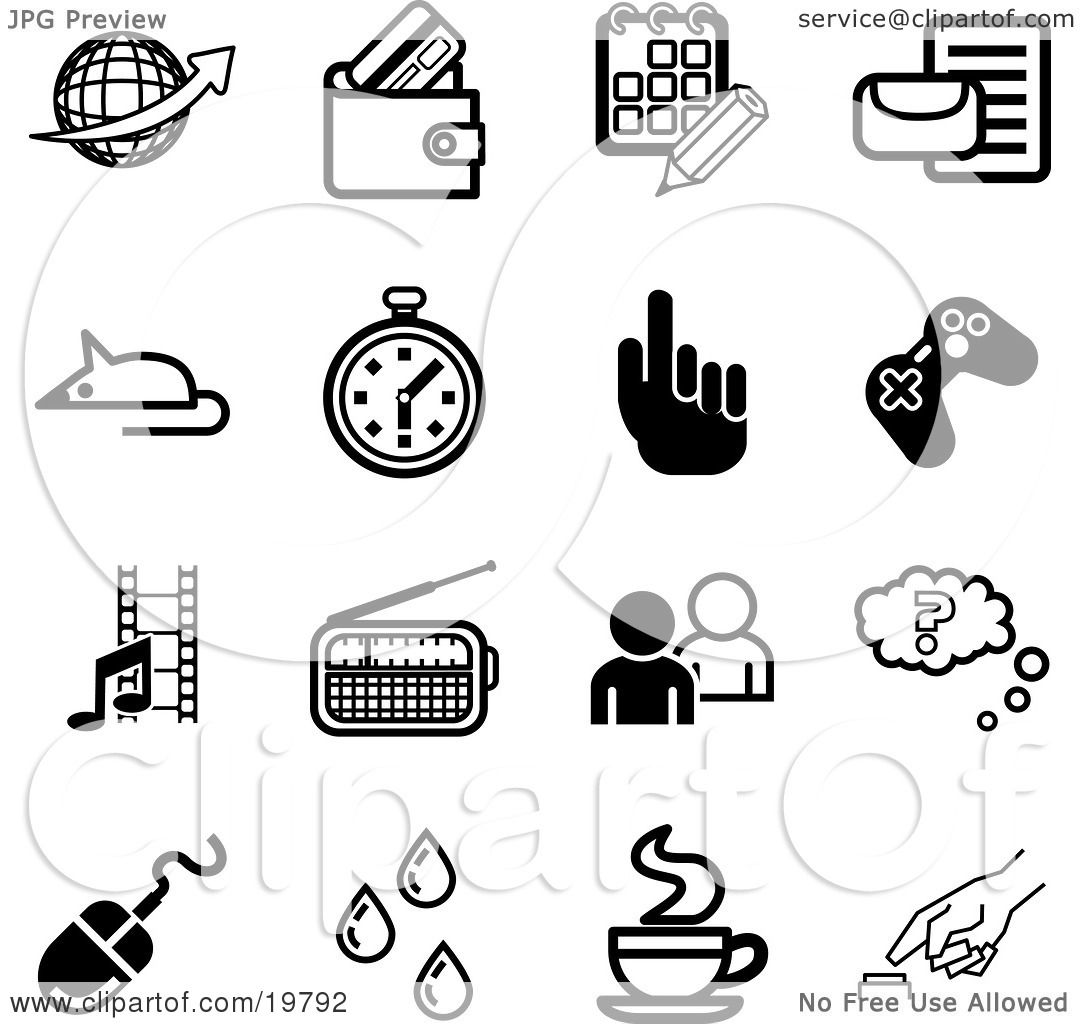 Clipart Illustration Of A Collection Of Black And White Globe Wallet Calendar Letter Mouse
