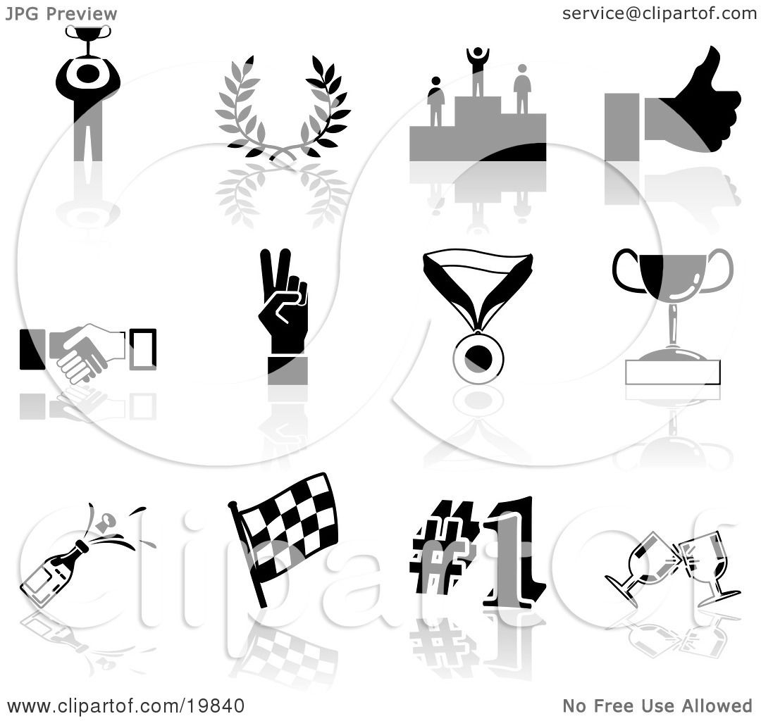 Clipart Illustration Of A Collection Of Black Champion