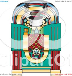 clipart illustration of a colorful retro jukebox by dennis holmes designs [ 1080 x 1024 Pixel ]