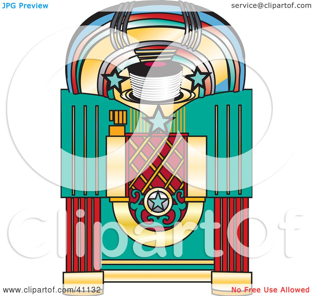 hight resolution of clipart illustration of a colorful retro jukebox by dennis holmes designs
