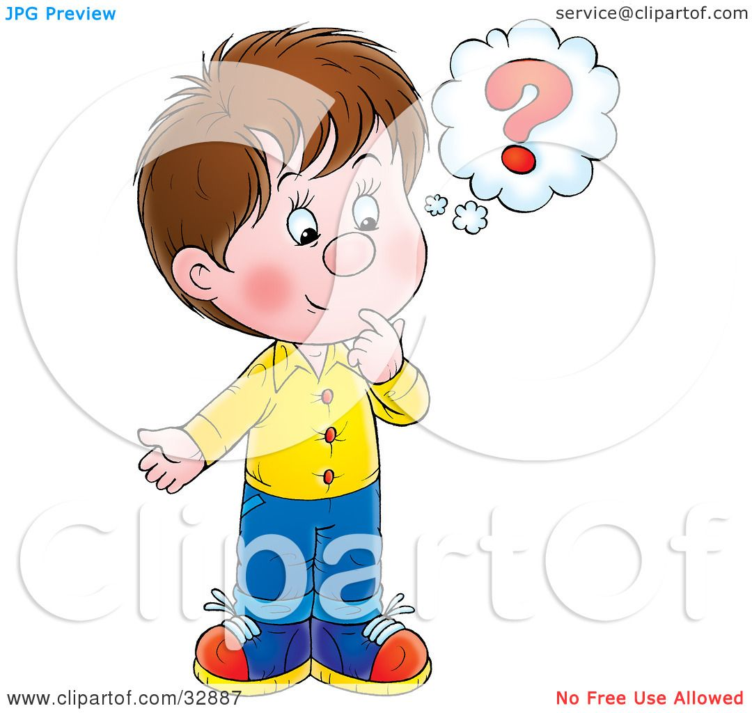 hight resolution of clipart illustration of a curious little boy touching his chin while thinking by alex bannykh