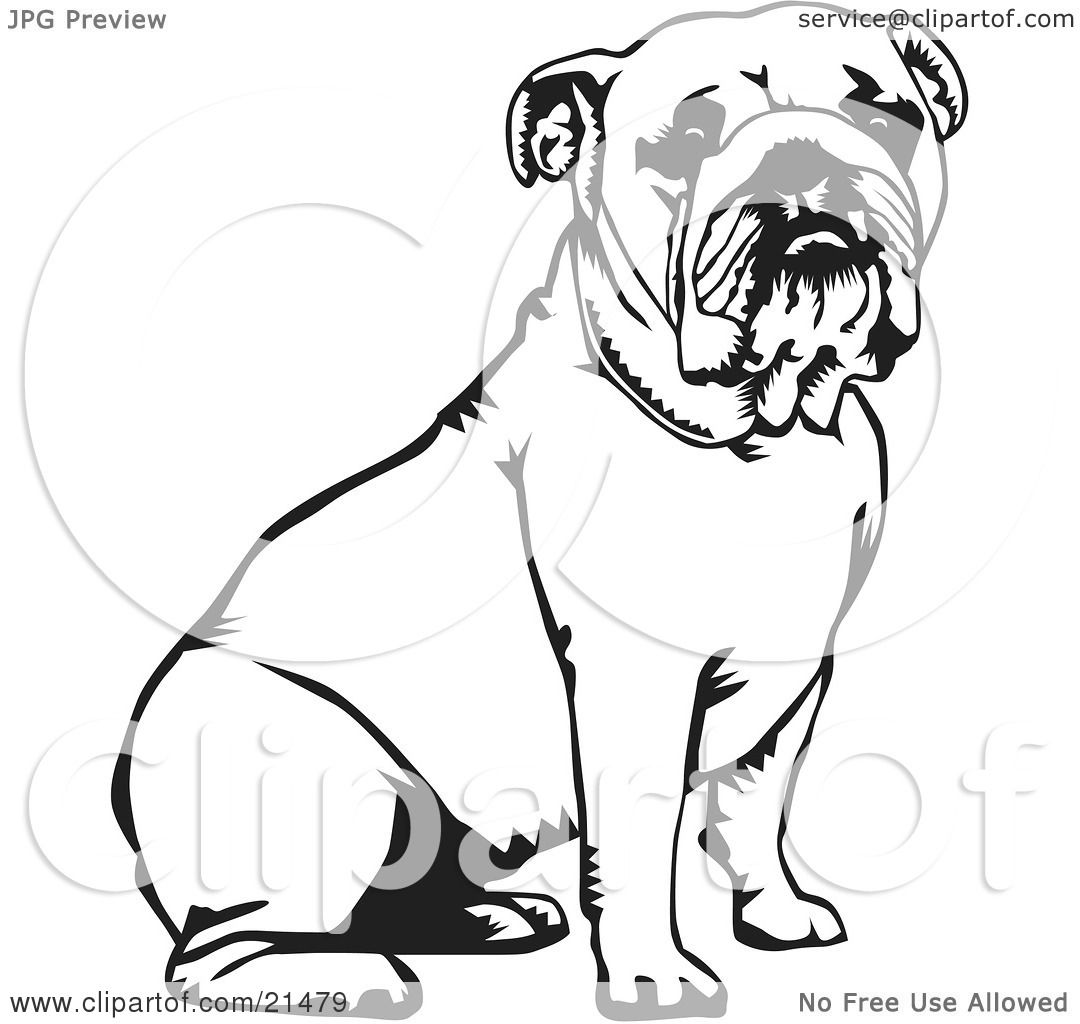 Clipart Illustration Of A Cute And Obe Nt Bulldog Seated