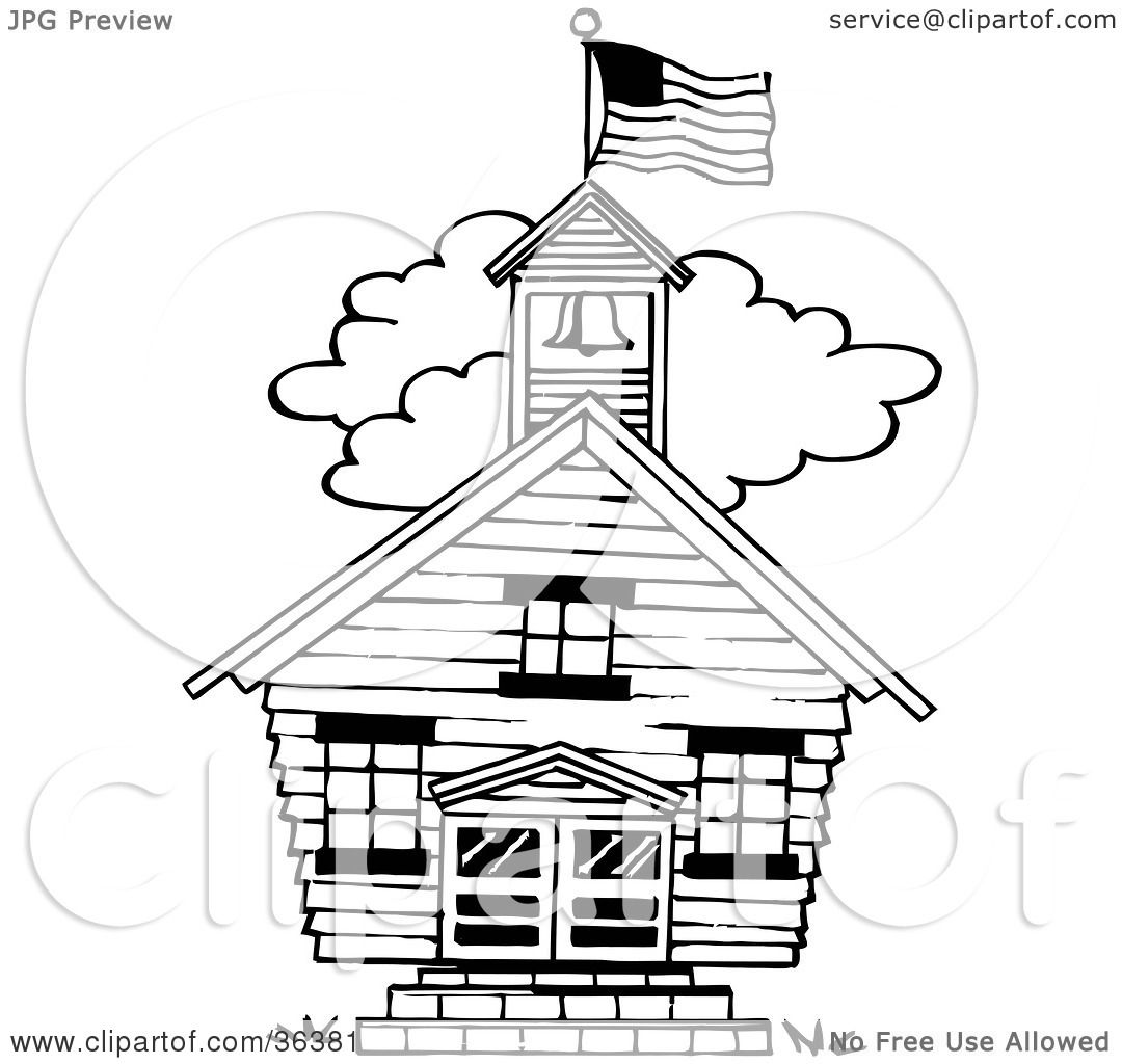 Clipart Illustration Of A Flag Atop The Bell Tower Of A