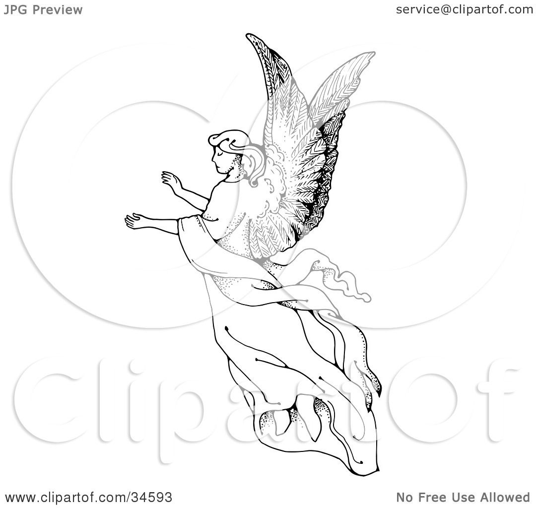 Clipart Illustration Of A Graceful Female Angel With Large