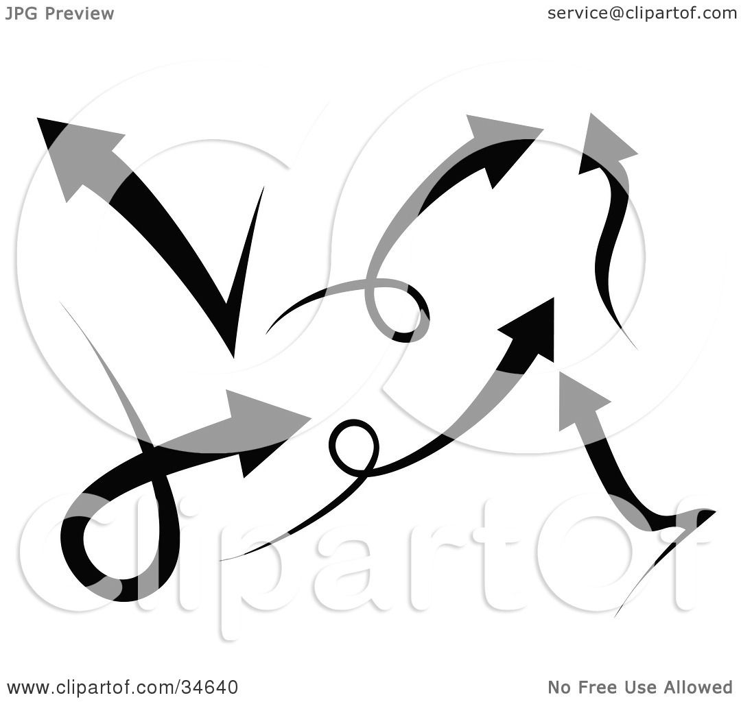 Clipart Illustration of a Group Of Six Black Arrows Going
