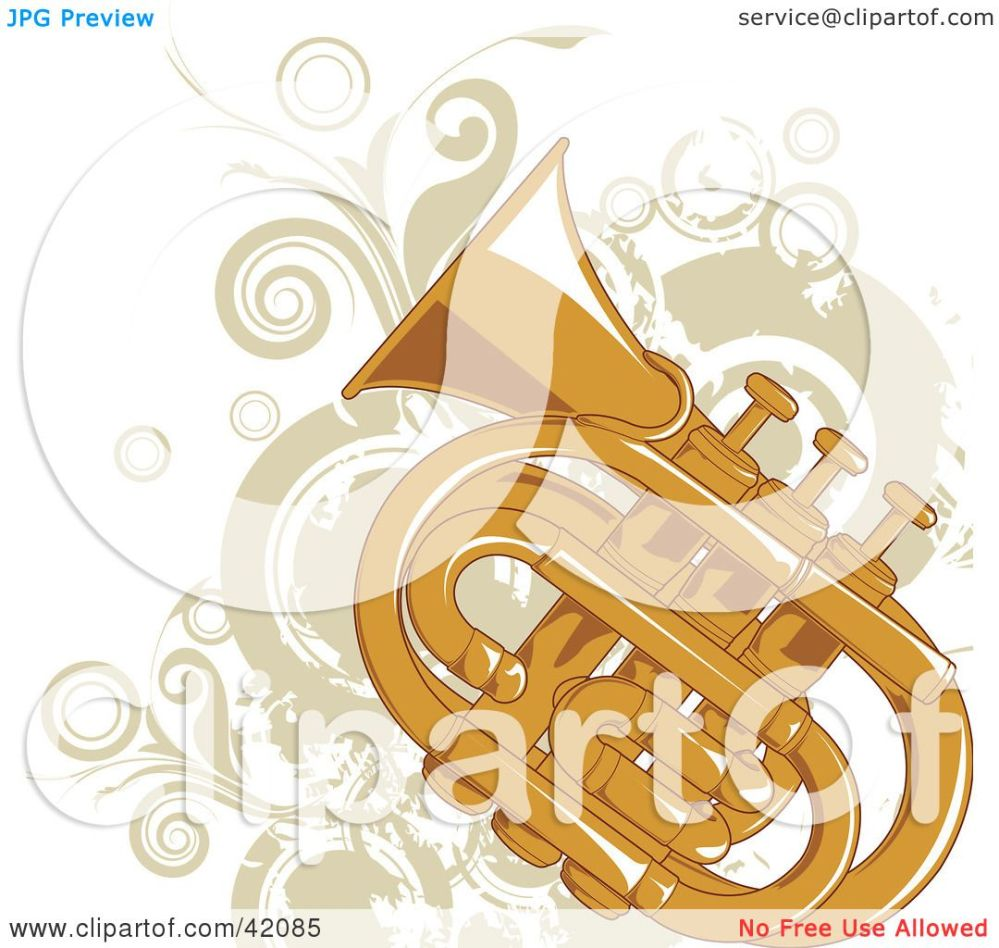 medium resolution of clipart illustration of a grungy tuba background with beige vines and circles by l2studio