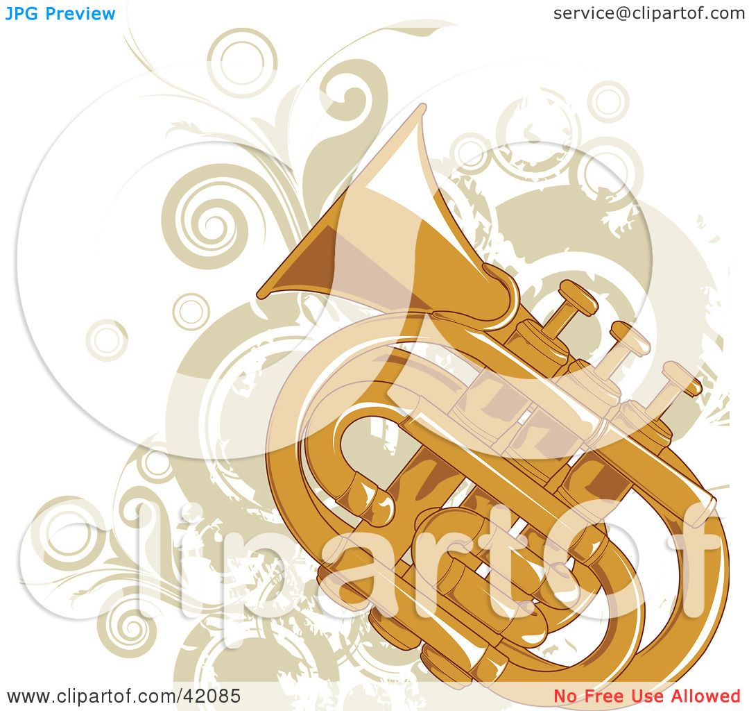 hight resolution of clipart illustration of a grungy tuba background with beige vines and circles by l2studio
