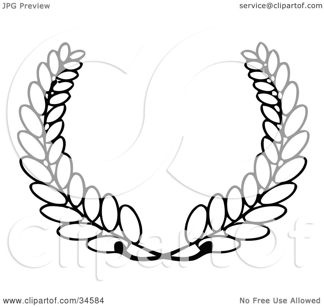 Clipart Illustration Of A Laurel Of Wheat With The Stems
