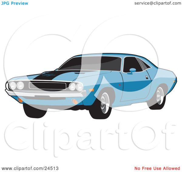 Clipart Illustration of a Light Blue 1970 Dodge Challenger