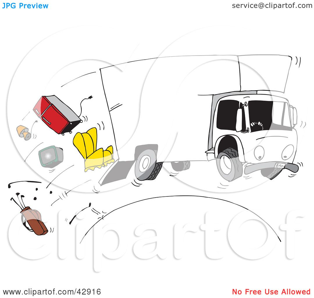 Clipart Illustration of a Moving Truck Speeding Over A