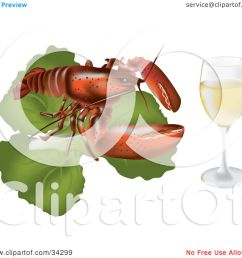 clipart illustration of a red lobster on top of a bed of lettuce beside a glass of white wine or champagne by eugene [ 1080 x 1024 Pixel ]