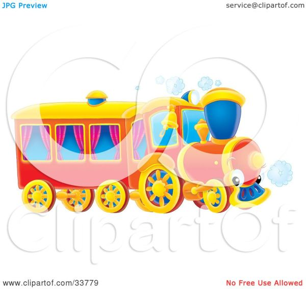 Clipart Illustration Of Red Train With Purple Curtains