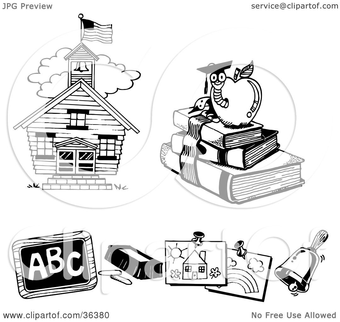 Clipart Illustration Of A School House Book Worm Chalk