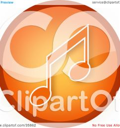 clipart illustration of a shiny orange music note icon button by yuhaizan yunus [ 1080 x 1024 Pixel ]