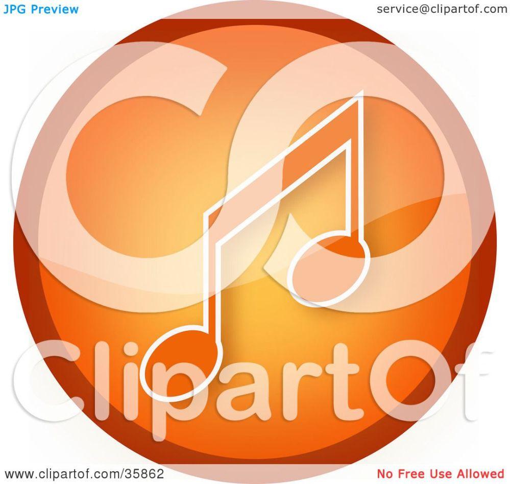medium resolution of clipart illustration of a shiny orange music note icon button by yuhaizan yunus