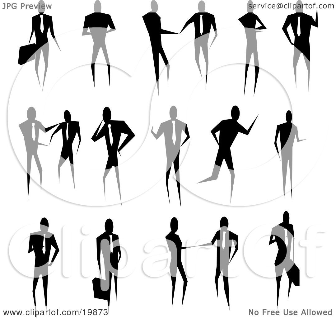 Clipart Illustration Of A Silhouetted Collection Of Business People Conducting Business And
