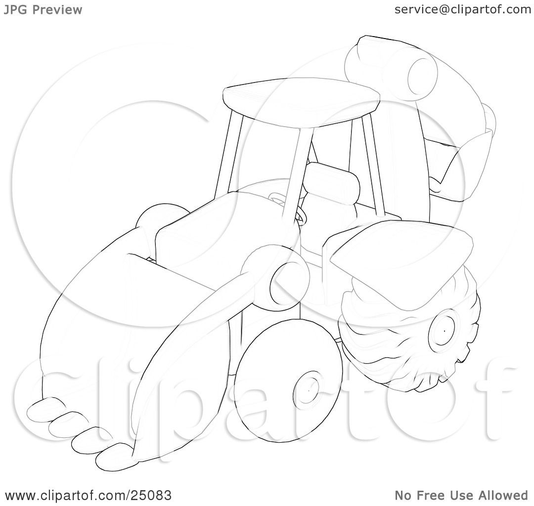Clipart Illustration Of A Sketch Of A Construction Backhoe Machine By Leo Blanchette