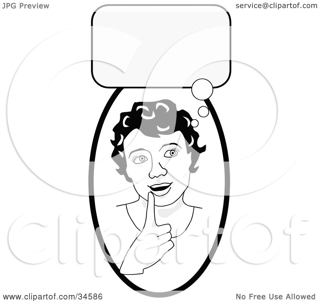 Clipart Illustration Of A Smart Girl In Thought Touching