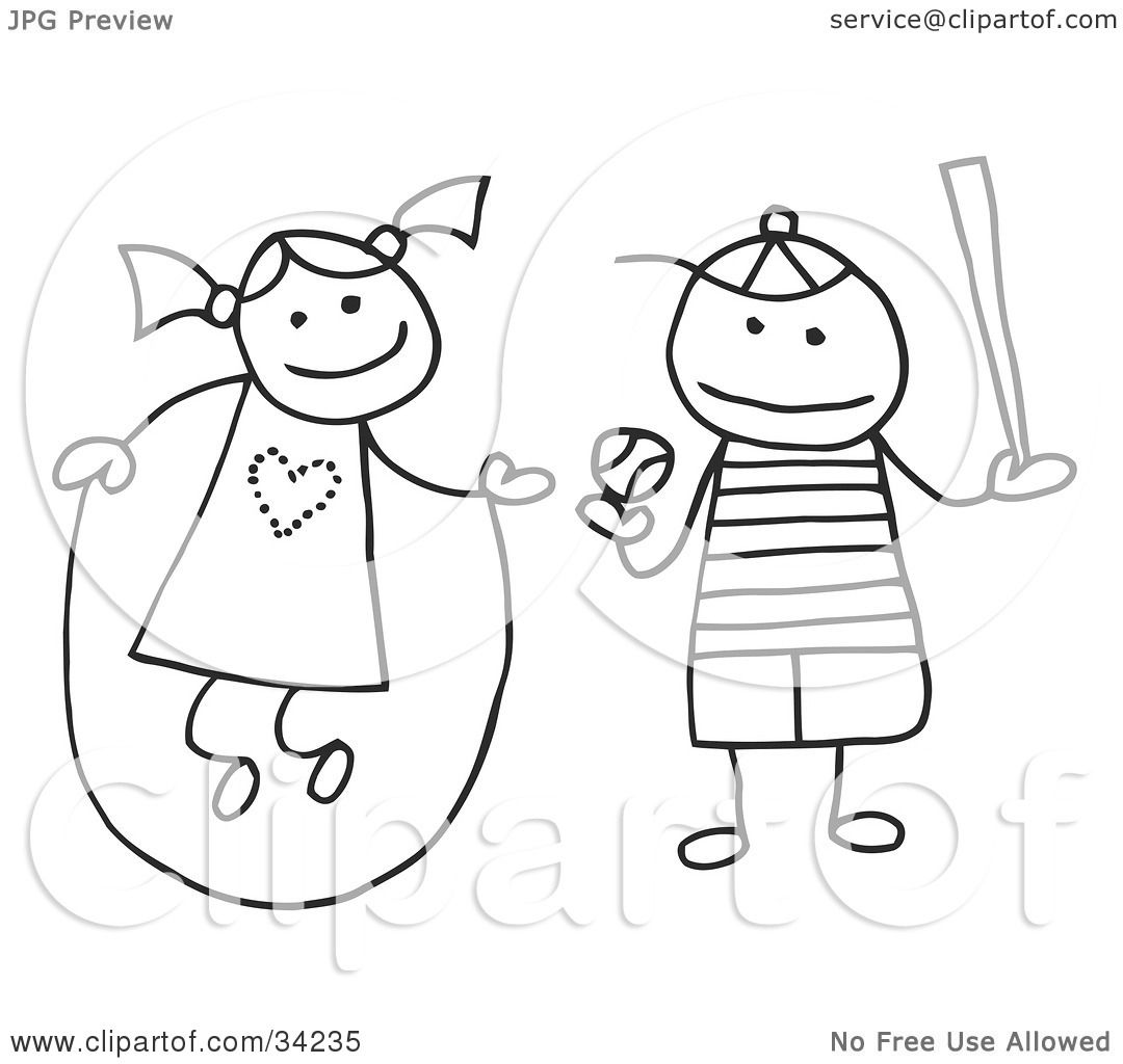 Clipart Illustration Of A Stick Girl And Boy Jumping Rope