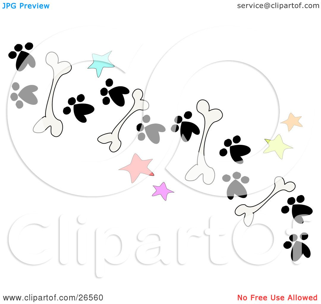 Clipart Illustration Of A Trail Of Dog Bones Stars And