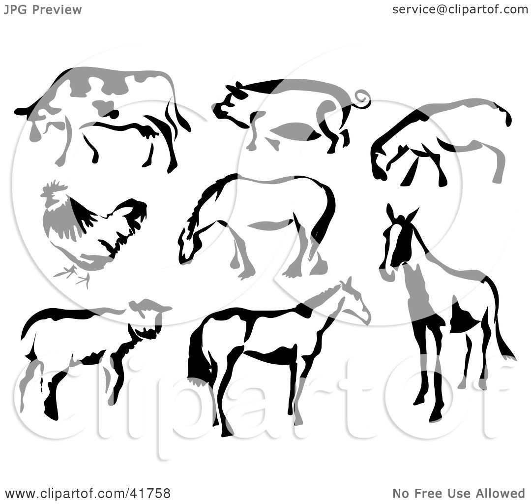 Clipart Illustration Of Black And White Cow Pig Sheep