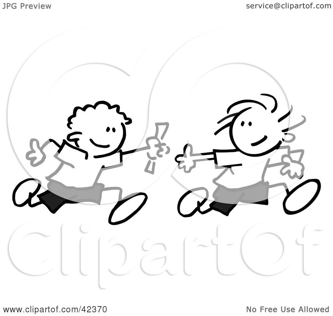 Clipart Illustration Of Black And White Stick Boys Running A Relay Race And Passing A Baton By
