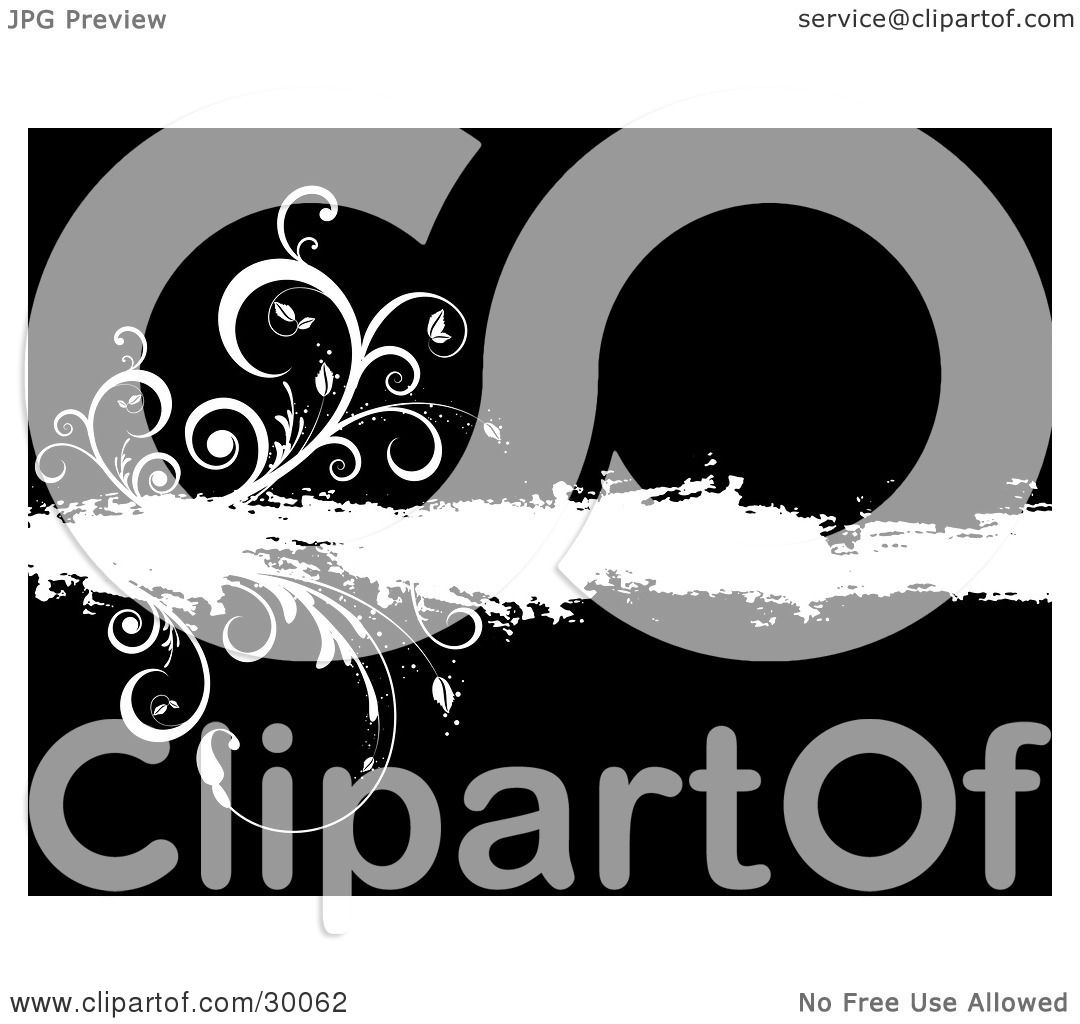 hight resolution of clipart illustration of curly vines growing from a white grunge bar over black by kj pargeter