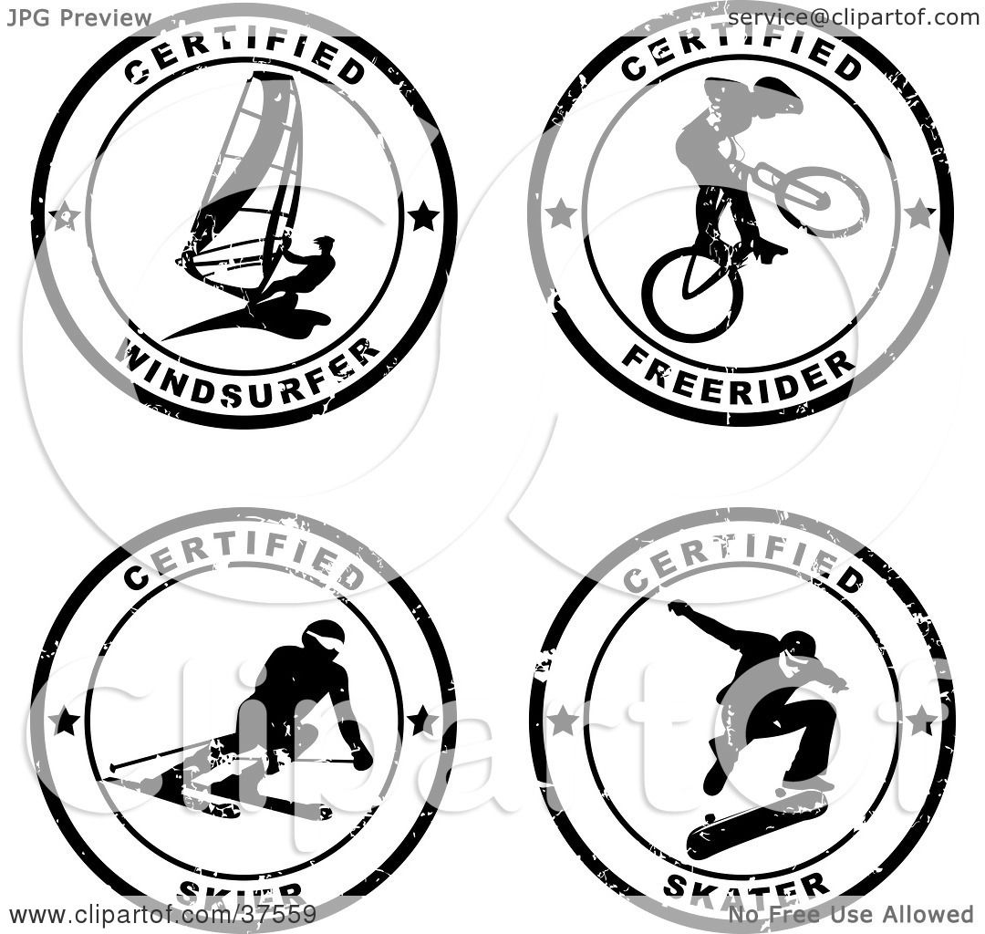 Clipart Illustration of Four Black And White Distressed