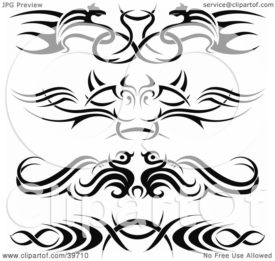 Clipart Illustration Of Four Bold Black Lower Back Tattoo