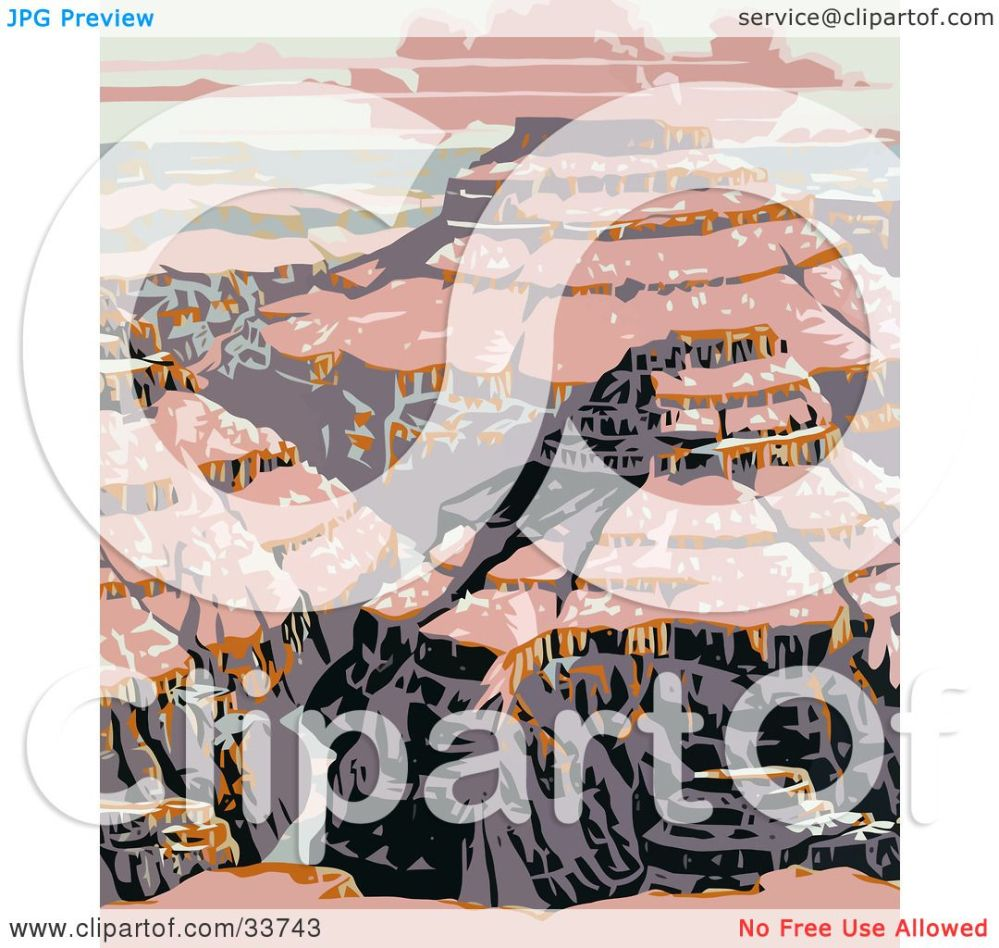 medium resolution of clipart illustration of pink light upon the grand canyon national park arizona by jvpd