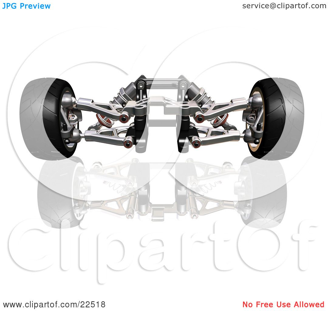 Clipart Illustration Of Red And Silver Suspension Car