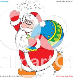 clipart illustration of santa claus in a red and white suit waving and treading snow carrying a toy sack over his shoulder by alex bannykh [ 1080 x 1024 Pixel ]