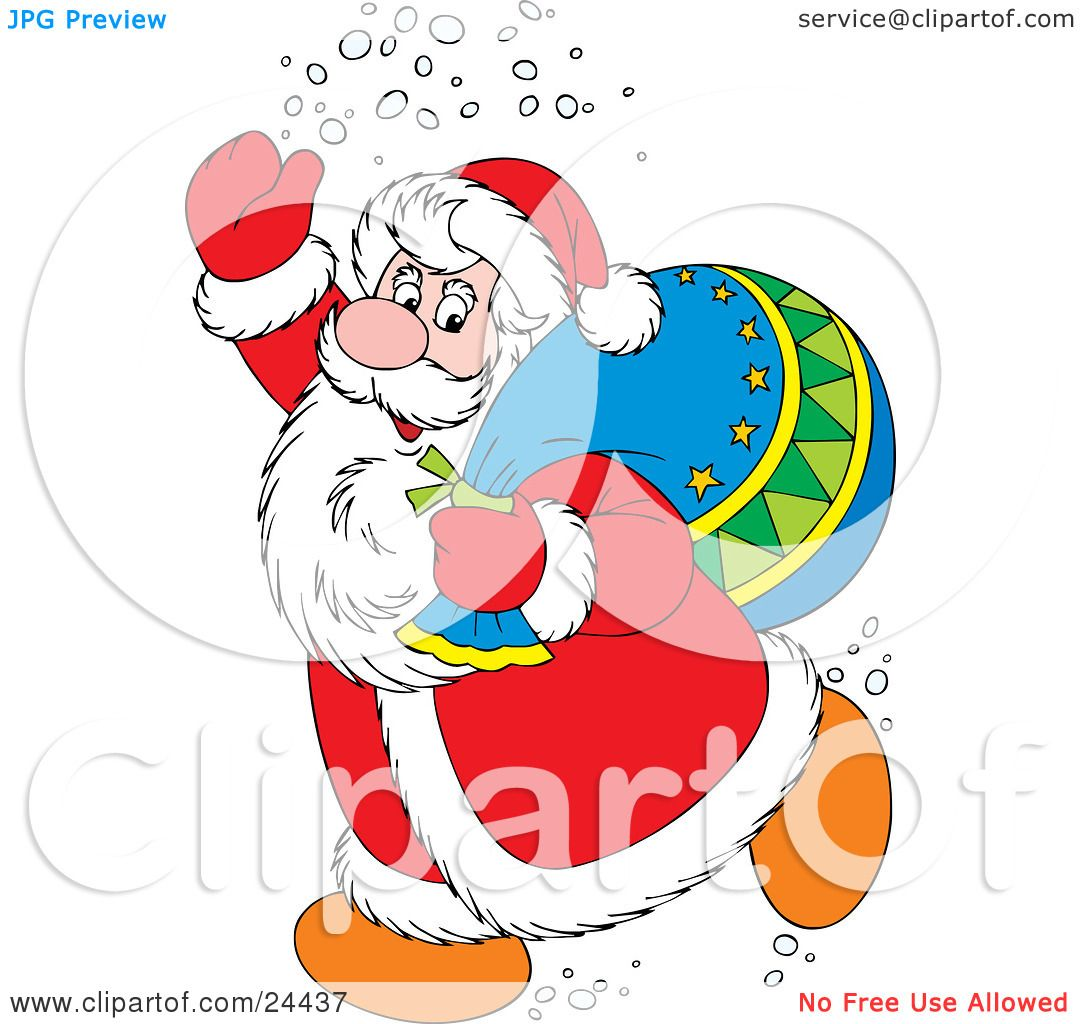 hight resolution of clipart illustration of santa claus in a red and white suit waving and treading snow carrying a toy sack over his shoulder by alex bannykh