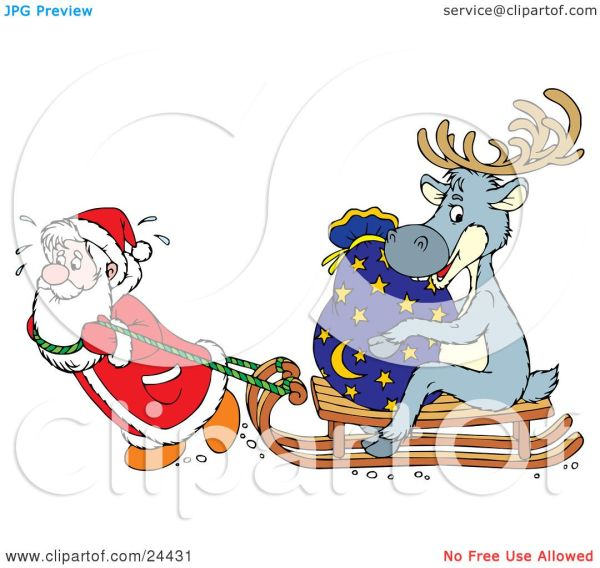 Clipart Illustration Of Santa Sweating And Pulling