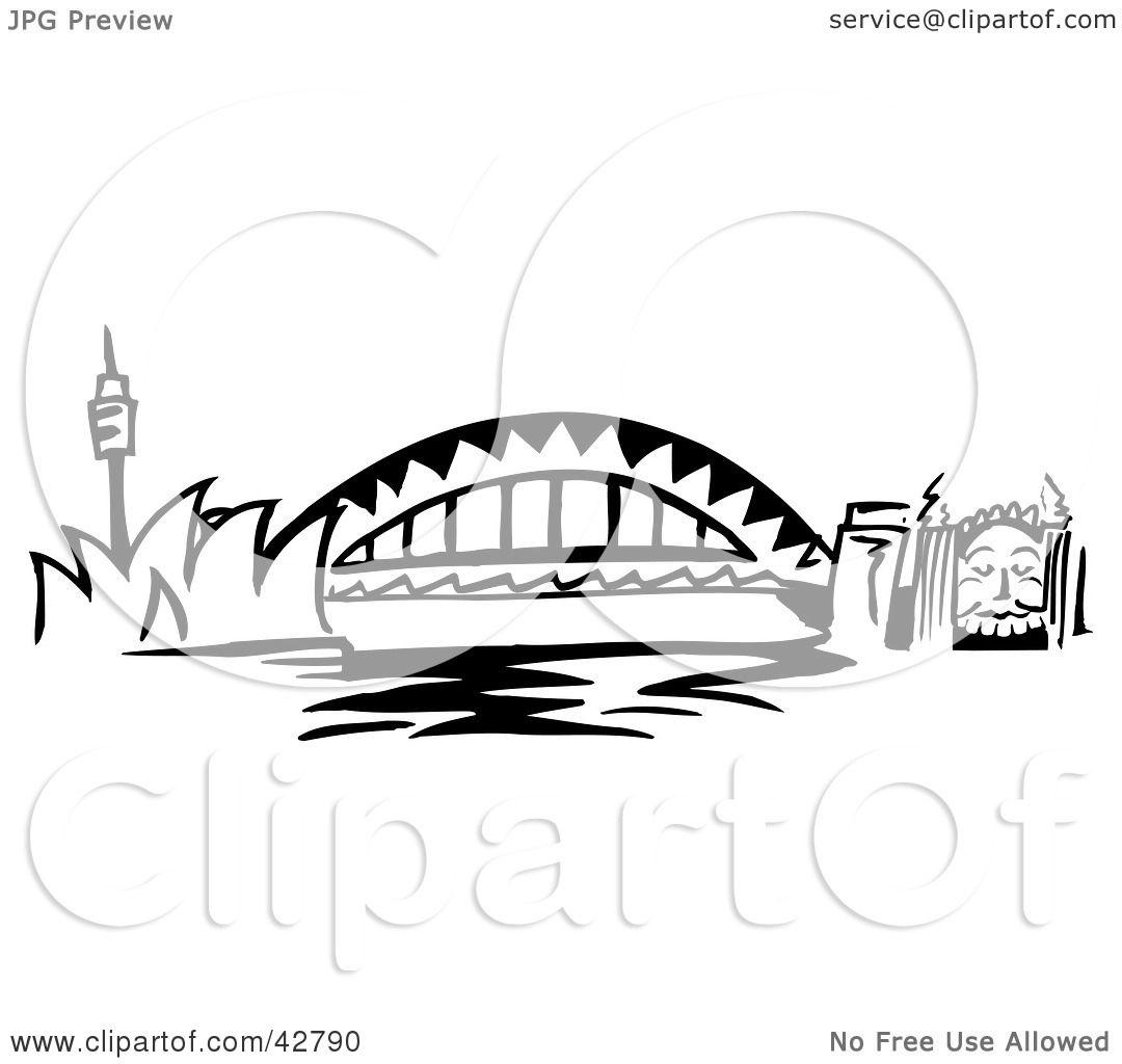 Clipart Illustration of The Arched Sydney Harbour Bridge