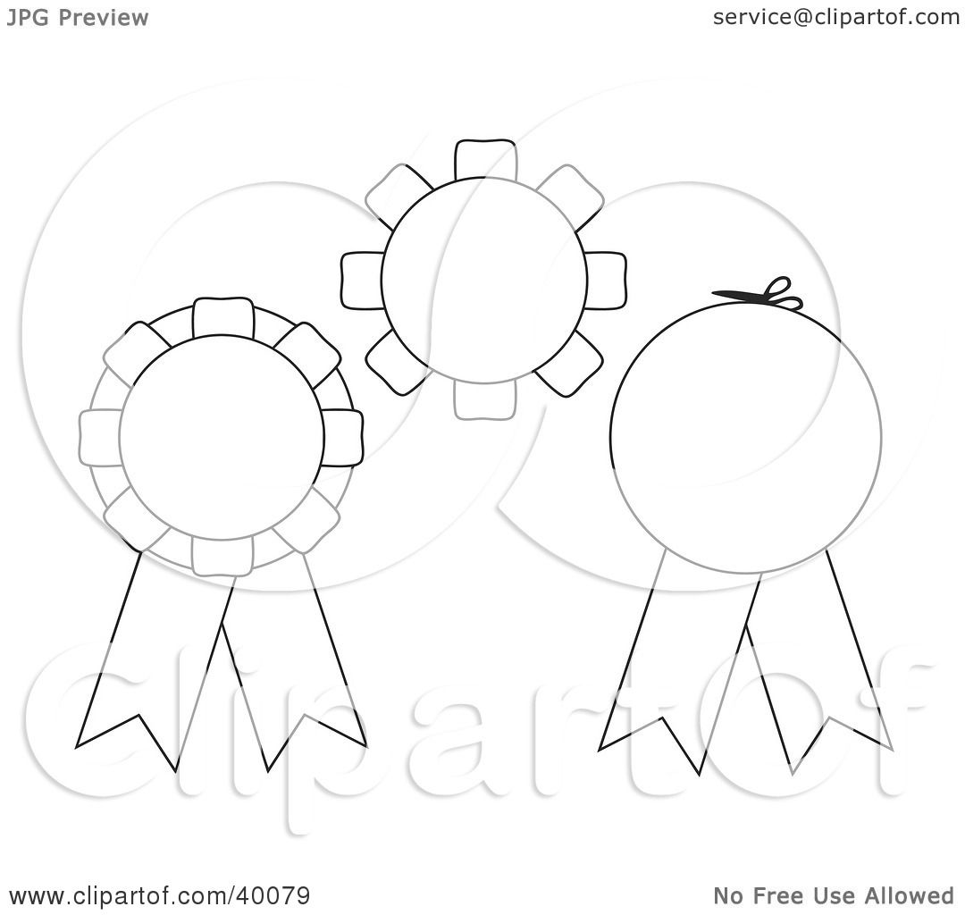 Clipart Illustration of Three Blank Black And White Cut