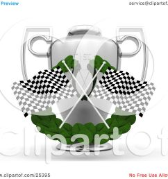 clipart illustration of two checkered racing flags crossed over a [ 1080 x 1024 Pixel ]