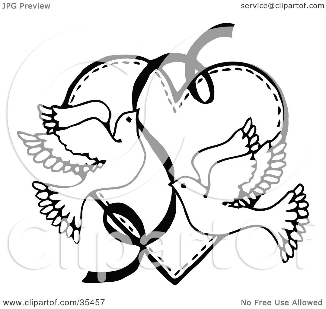 Clipart Illustration Of Two Flying Doves With A Ribbon