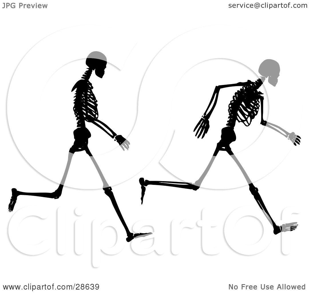 Clipart Illustration of Two Poses Of A Black Silhouetted